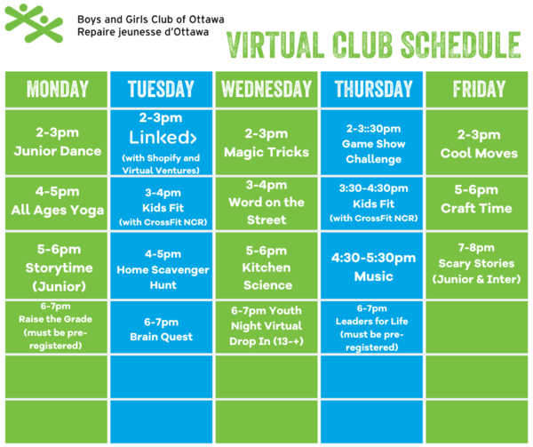 Virtual Club Schedule Social Media